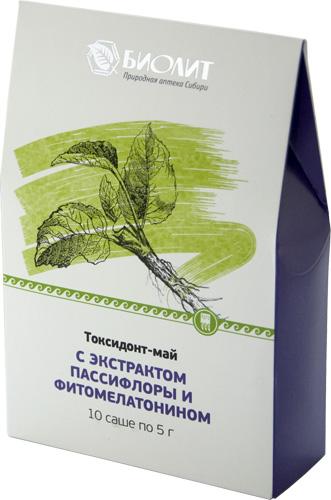 Токсидонт-май с экстрактами пассифлоры и фитомелатонином, 10 саше 5 г